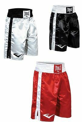 Everlast Boxing Fight Shorts Black White Red