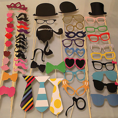 58PCS Masks Photo Booth Props Mustache On A Stick Birthday Wedding Party DIY GD