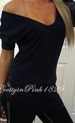 Victoria Secret Short Sleeve Top Shirt Navy Off the shoulder Fitted T Shirt S