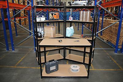 2 Bay Steel 180 x 90 x 45, 5 Tier Garage Shed Storage Shelving Units + Workbench