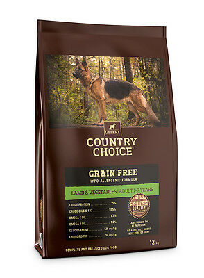 Country Choice Grain Free Adult Dog Food 12kg Bag Lamb & Veg