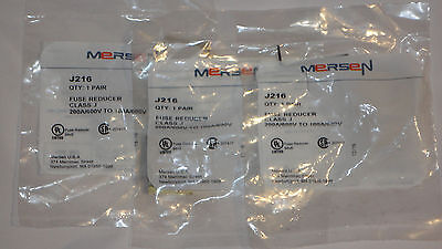MERSEN J216 fuse reducers Class J 200A/600V to 100A/600V - 3 new pairs