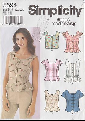 Simplicity 5594 Ladies Tops 4 Styles Size 6-8-10-12 Uncut Sewing Pattern