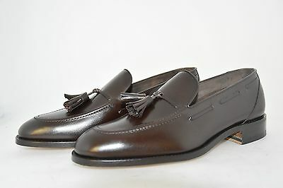 MAN-7½eu-8½us-TASSEL LOAFER-BROWN CALF-VITELLO MARRONE-LEATHER SOLE-SUOLA CUOIO