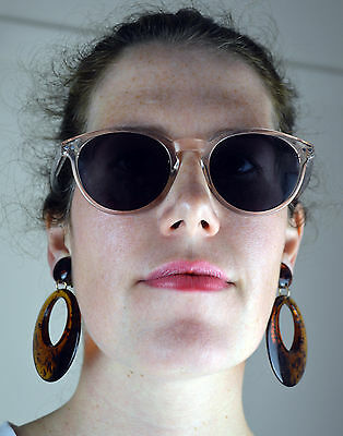 Vintage 1980's Large Brown Dangle Lucite Clip On Earrings