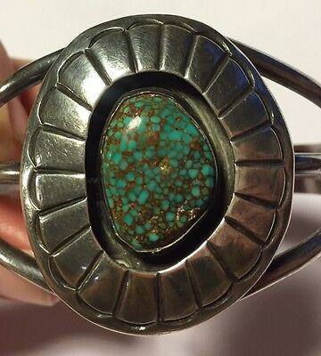 Vintage Southwestern Sterling Silver Cuff Bracelet W/ Spider Web Turquoise B578