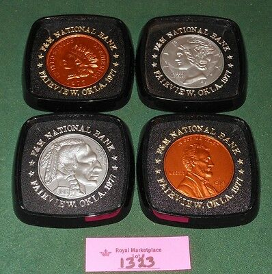 Vtg 1970's F&M NATIONAL BANK Fairview OKLAHOMA Set 4 Coin Drink Coasters