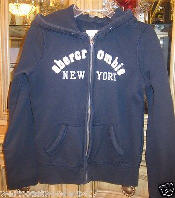 Kids Abercrombie and Fitch Navy Blue Zip-up Hoodie Size L XL