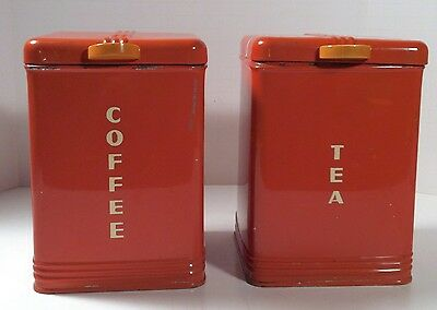 Vintage 1930's Kreamer Kitchen Canisters Tin Box W/ Bakelite Knobs RARE Set Of 2