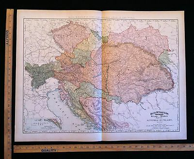 Antique 1891 Map Of Austria Hungary  Excellent Large Size For Wall Decor 28 x 22