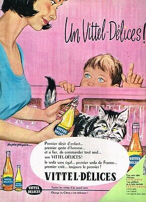 H- Publicité Advertising 1961 Le Soda Vittel Délices .....chat