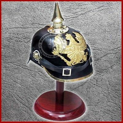 Imperial Officer's Fr Helmet German Prussian Leather Pickelhaube With WOOD STAND