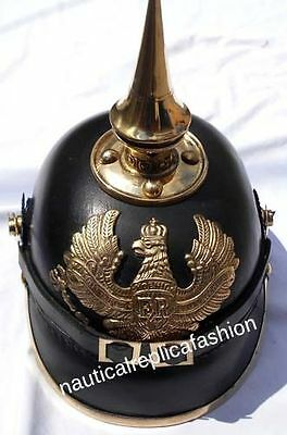 WW I&II Leather German Helmet Brass Screw Spike Pickelhaube Armor FR Leather hel