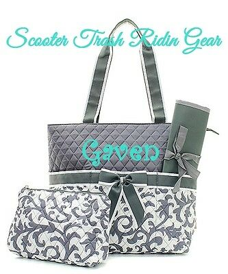 DIAPER BAG personalized baby tote Damask print gray grey monogrammed NEW