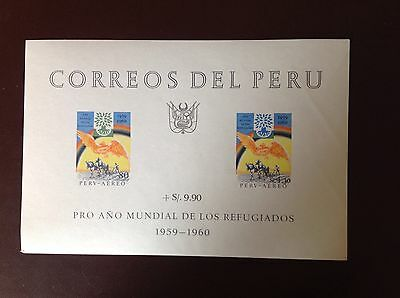 Peru 1960 World Refugees Minisheet MNH Light Corner Crease