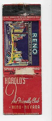 Vintage Matchbook Cover From Harold's The Friendly Club in Reno, Nevada