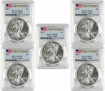 2017 $1 American Silver Eagle PCGS MS70 First Strike Lot of 5 - Blue Flag Label