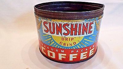 Vintage Rare Sunshine Brand Drip Grind 1 lb. Coffee Tin Springfield Grocer Co.