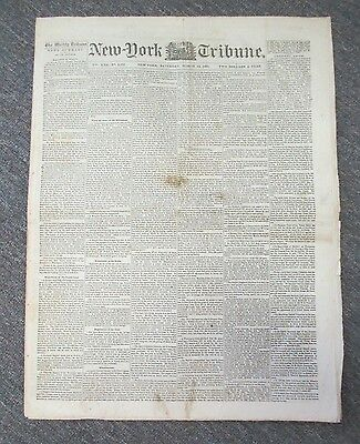 March 14, 1863 NEW YORK TRIBUNE with Civil War News, Pres Lincoln Proclamation
