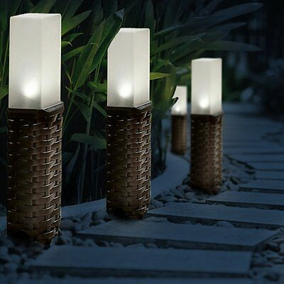 4pc Rattan Style Solar Powered Motion Ground Post Path Stake Lights Garden Patio