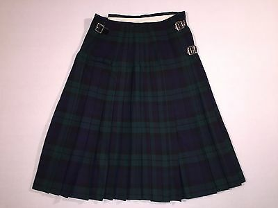 The Scotch House Tartan Plaid 100% Wool Kilt Skirt Women's Tag Size 14 - Euc