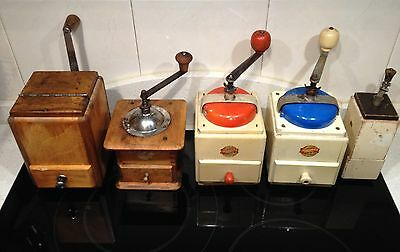 5 Antique Coffee Grinder . Molino de Cafe . Old coffee mill . Leinbrock´s Jdeal
