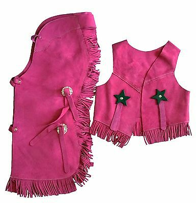 Kid's Youth Western Cowboy Suede Leather Chaps & Vest with Fringe Pink: S, M, L