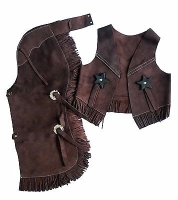 Kid's Youth Western Cowboy Suede Leather Chaps & Vest with Fringe Brown S, M, L
