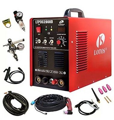 Lotos LTPDC2000D Plasma Cutter Tig Stick Welder 3 In 1 Combo Free Shipping