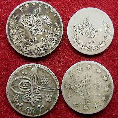OTTOMAN EMPIRE.  Lot of 4 silver coins