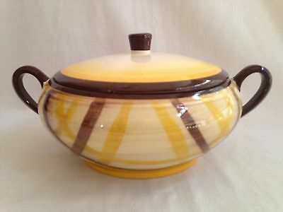 "VINTAGE VERNONWARE 8"" COVERED SERVING BOWL USA Organdie Vernon Calif Pottery B2"