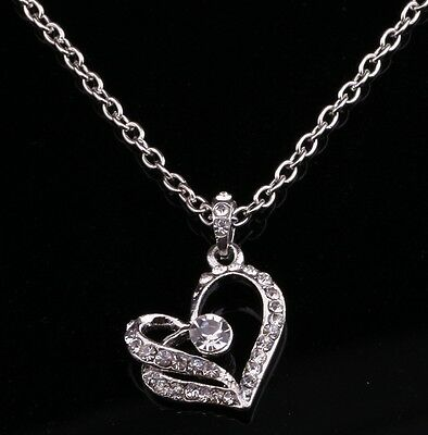 Women Crystal Silver Plated Chain Necklace Heart Pendant Necklace
