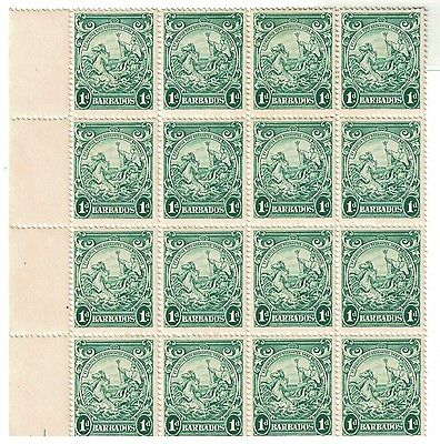 barbados 1943 stamps block 1d blue/green part sheet MNH badge of colony