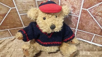 """Pickford Bears The Brass Button Bear Tully Red Blue Sweater Cap Plush Toy 8"""""""