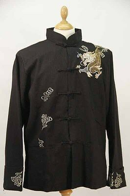 Embroidered Black Chinese Linen Jacket