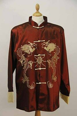 Chinese Embroidered Burgundy Men's Jacket