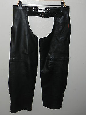 "Ladies Hot Black Leather Chaps Motorcycle 18"" THIGH, 28""-36"" Waist"