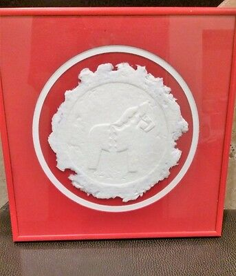 SALE!  Dala Horse Sweden framed with matting Red and White handcrafted 10x10