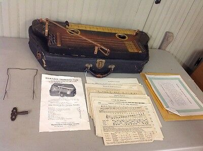 Vintage Antique Tremoloa Hawaiian Harp Zither Slide Guitar w/ Case & Music