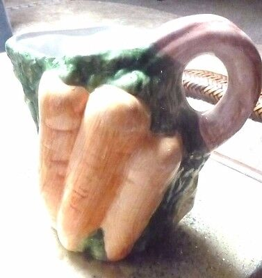 Vintage Bassano Ceramic Majolica Pitcher Hand Painted Carrots Made In Italy