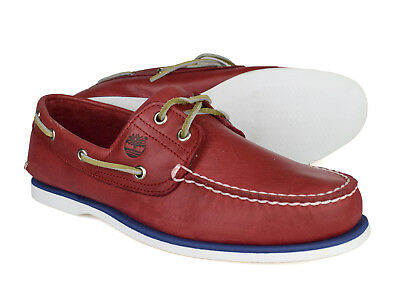 Timberland Classic 2 Eye Mens Red Leather Lace Up Boat Shoes 6829B