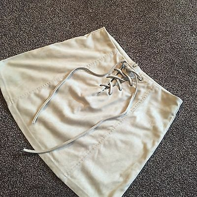 Faux Suede Cream Grey Skirt, Topshop, Size 10 (petite)