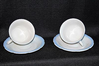 4pc VTG FIRE-KING 'ALICE' Blue Vitrock Rim Teacups And Saucers