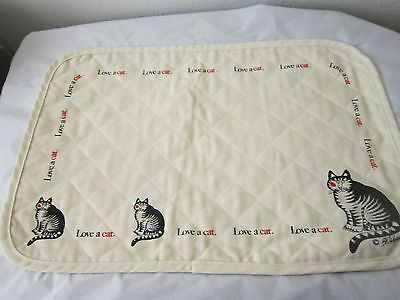 Set Of 3 Vintage Nos Kliban Cat Love A Cat Off White Placemats 1980's Cute Kitty