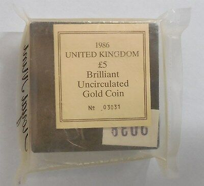 1986 Great Britain GB Brilliant Uncirculated 5 Pound Gold Mint Sealed