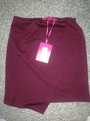 Boohoo Asymmetric Skirt Size 12 Berry Colour Brand New With Tag