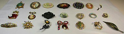 Costume Jewelry Brooch Pin Lot As Is Vintage Sparkle Gold Tone Flowers Cameo