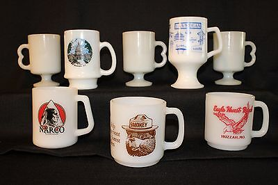 8PC VTG Milk Glass Mug Lot - Smokey the Bear, Advertising, ETC!