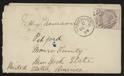 Great Britain 101 on 1884 mini cover w/Hawkhurst pmk to Pitford, NY, USA