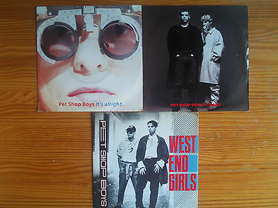 "7"" PET SHOP BOYS : WEST END GIRLS + IT'S ALRIGHT + SO HARD 3 x POP HITS LOT 80th"